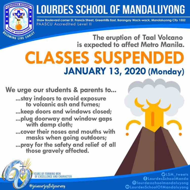 LSM Eruption of Taal Volcano Classes Suspended