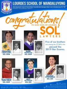 Five Sons of Lourdes are among the 27.36% of takers who passed the 2019 Bar Exams