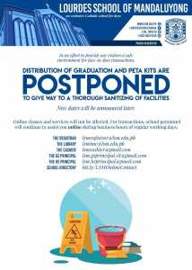 Distribution of Graduation and peta kits are postponed