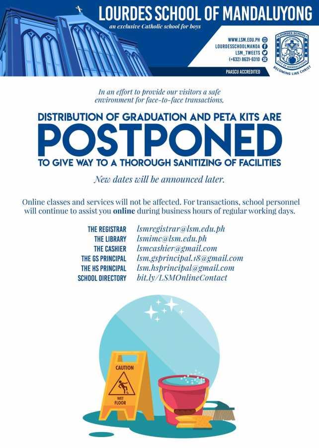 Distribution of Graduation and peta kits are postponed