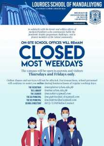On site school offices will remain closed most weekdays