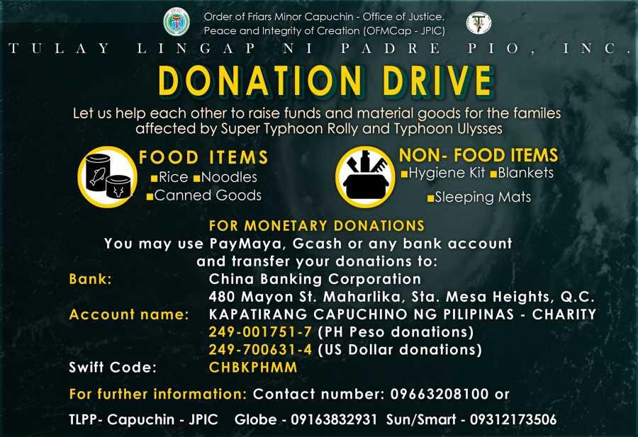 Donation Drive - Tulay Lingap Ni Pader Pio Inc.